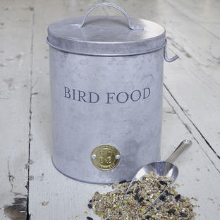 Galvanised Bird Food Tin