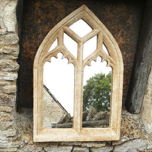 Gothic Ornate Double Arch Garden Mirror