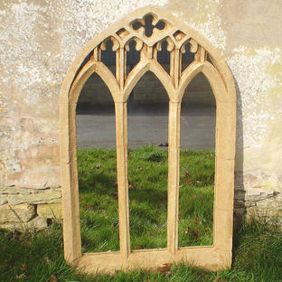 Large Gothic Triple Arch Garden Mirror