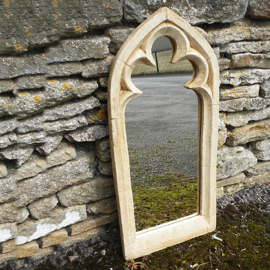 Gothic Single Trefoil Arch Garden Mirror
