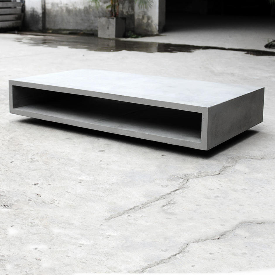 Concrete Monobloc Coffee Table with Wheels