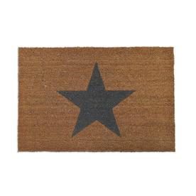 Large Black Star Coir Doormat