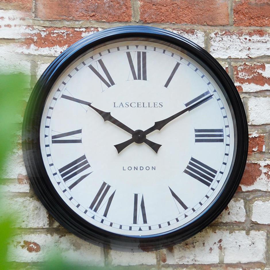 Large Black Cased Metal Wall Clock