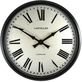 Large Black Cased Metal Wall Clock