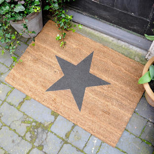 Large Black Star Coir Doormat