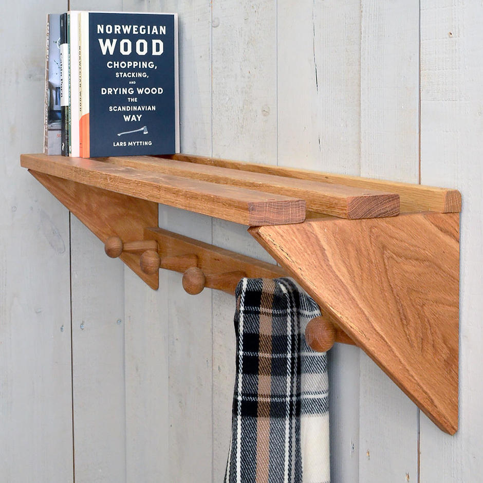 Oak Coat Rack with Shelf