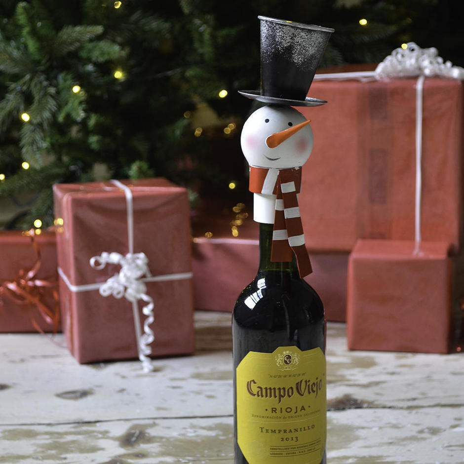 Snowman Wine Bottle Top