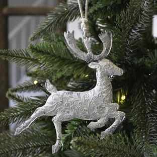 Silver Hanging Reindeer Decoration