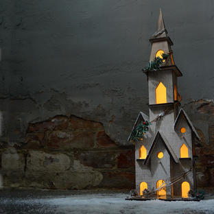 Christmas Wooden Church with LED Lights