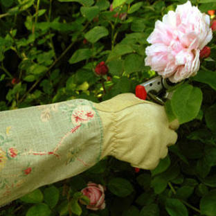 Ladies Floral Linen Pruning Gloves