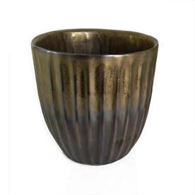 Petrol & Gold Ribbed Plant Pots