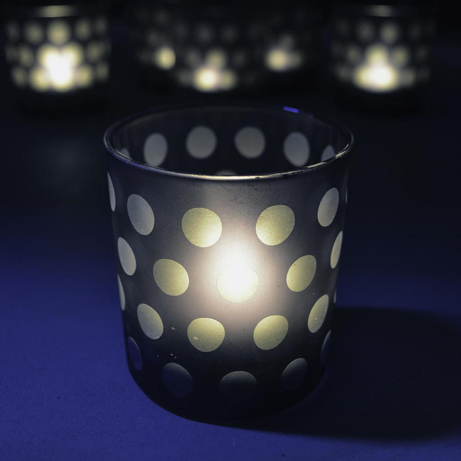 Smokey Blue Etched Dot Glass Votives