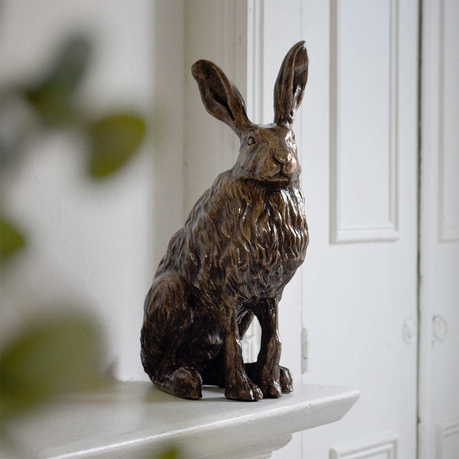 Antiqued Bronzed Resin Hare