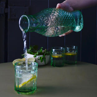 Fish & Fish Green Glass Carafe