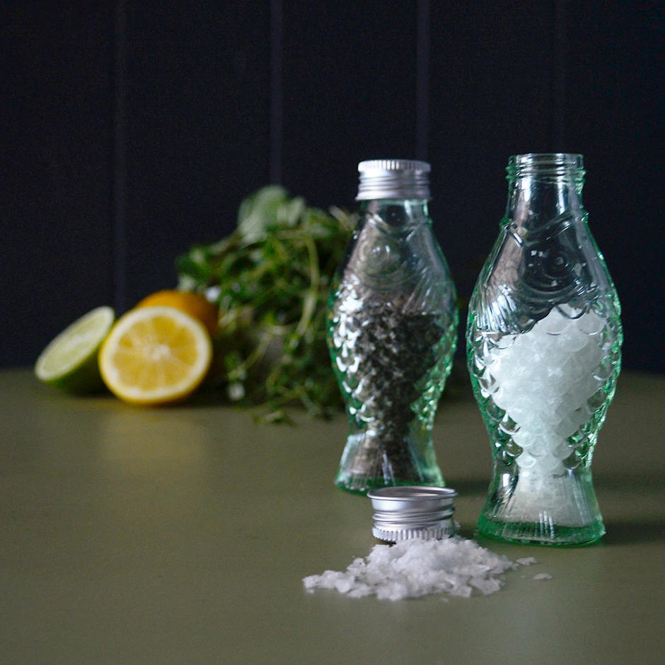 Fish & Fish Green Glass Mini Bottle