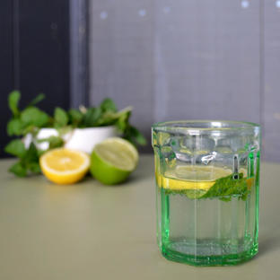 Fish & Fish Green Glass Tumbler