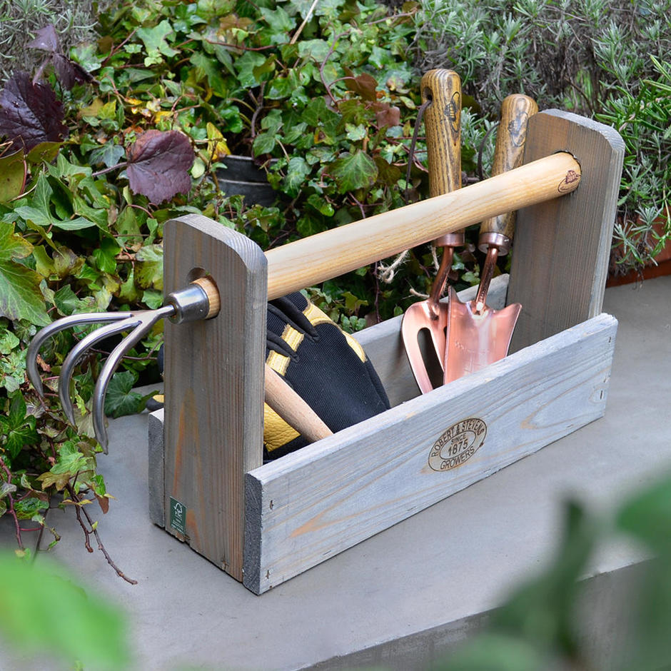 Wooden Tool Carrier and Rake