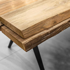 Split Raw Buffed Teak Dining Tables