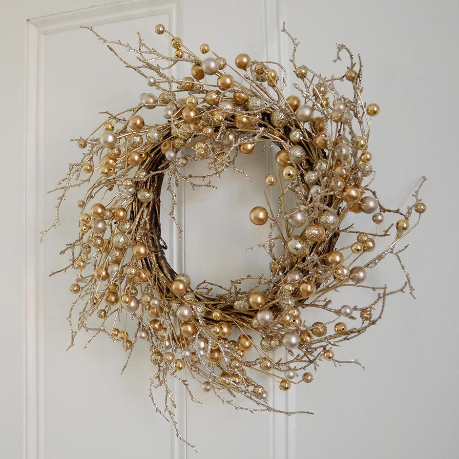 Gold Berry and Pearl Wreath