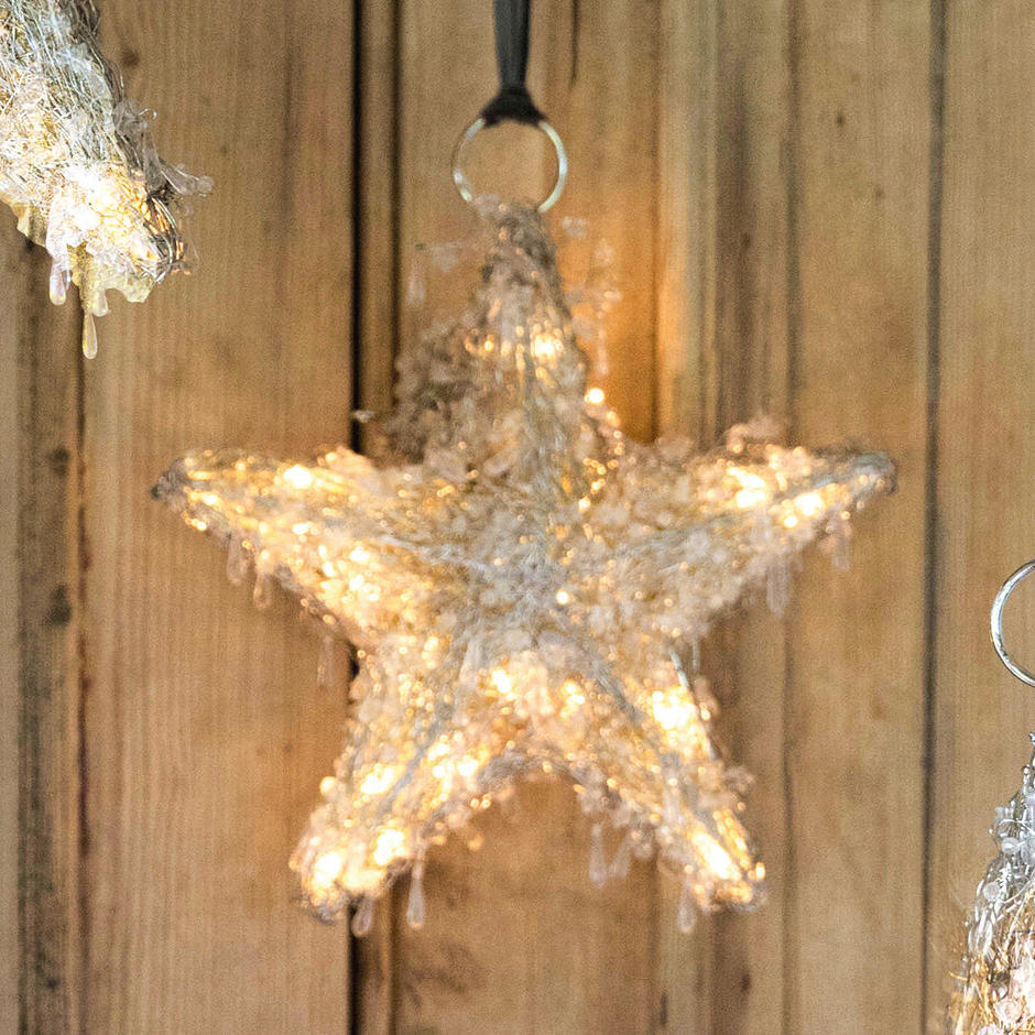 Beaded LED Hanging Star - Small