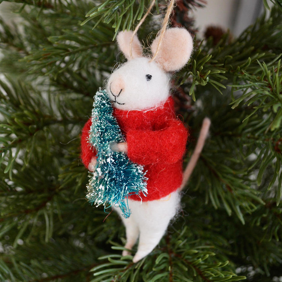 Christmas Felt Mouse with Tree