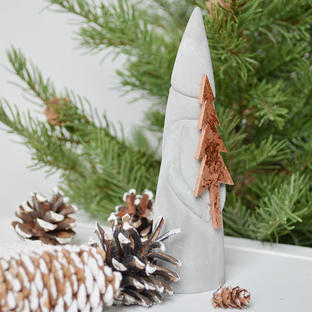 Nordic Cement Santa with Copper Tree