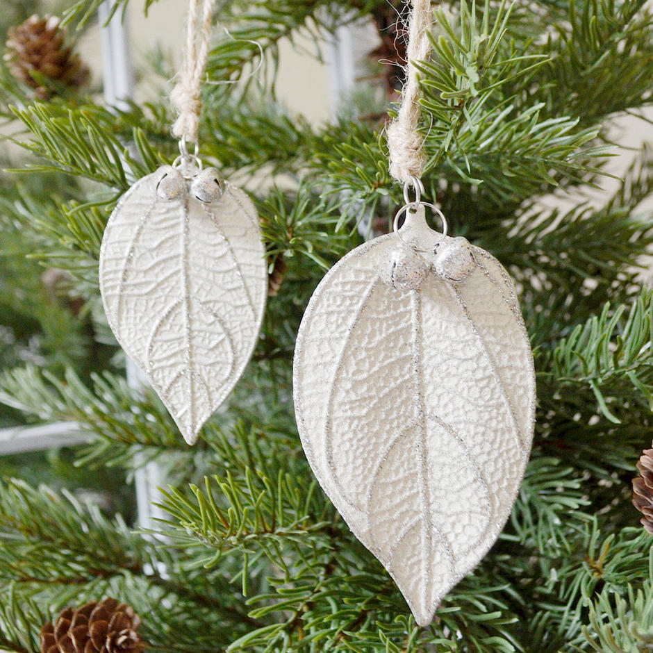 White Frosted Skeleton Leaf Decorations