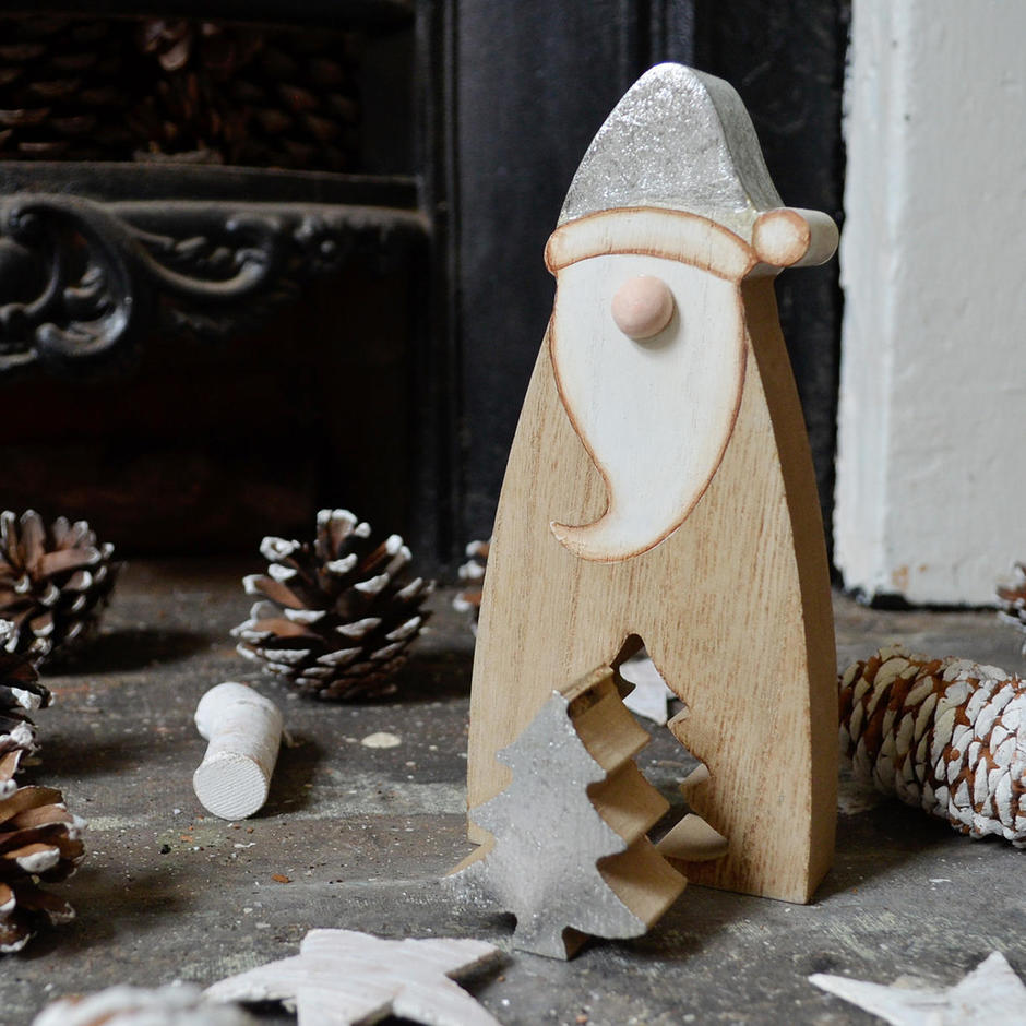 Wooden Santa With Cut Out Tree
