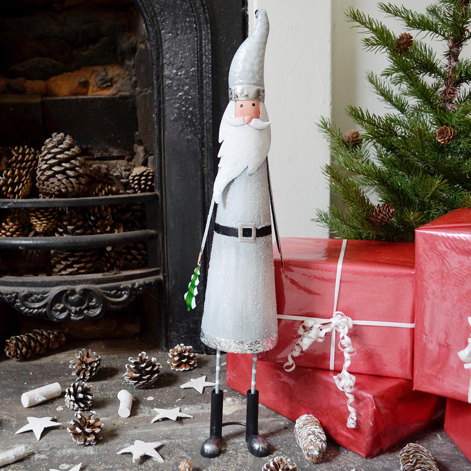 Tall Nordic Silver Santa with Tree