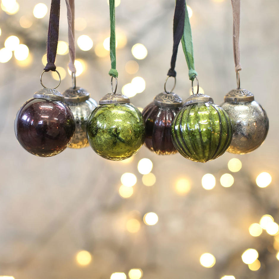 Artisan Coloured Glass Baubles set of 6