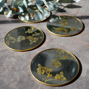 Antique Mirrored Blossom Coasters - set of 4