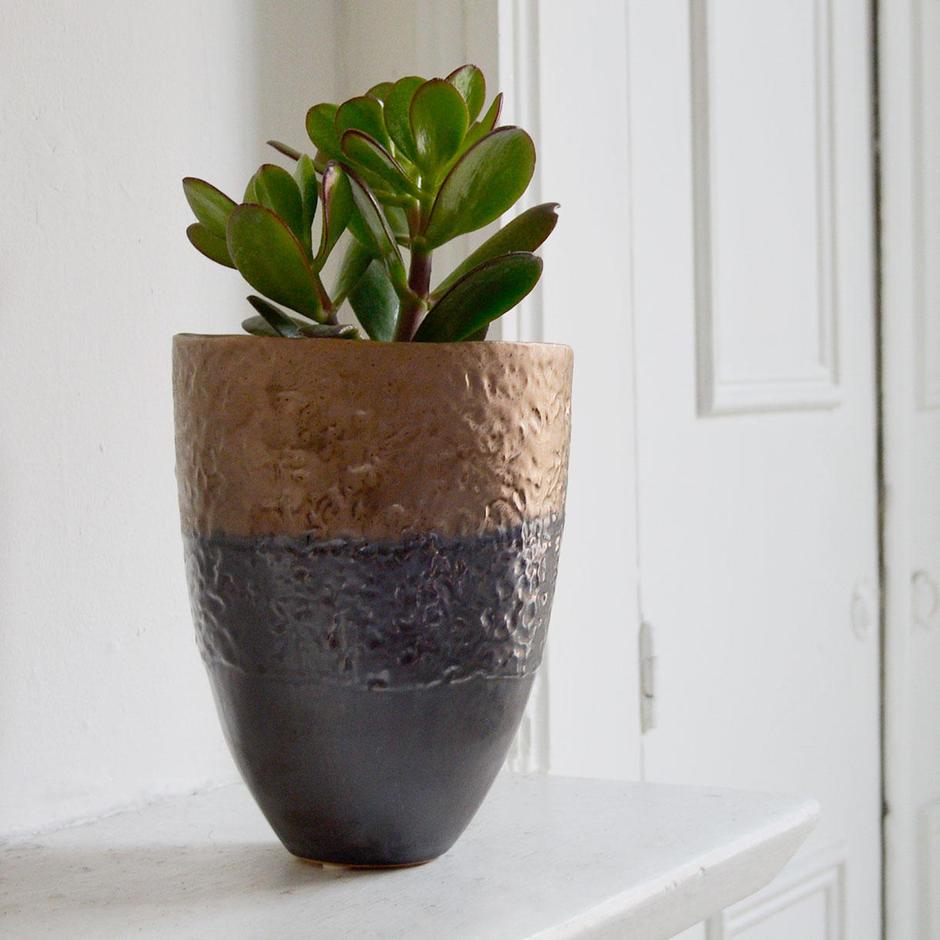 Petrol & Bronze Small Plant Pot