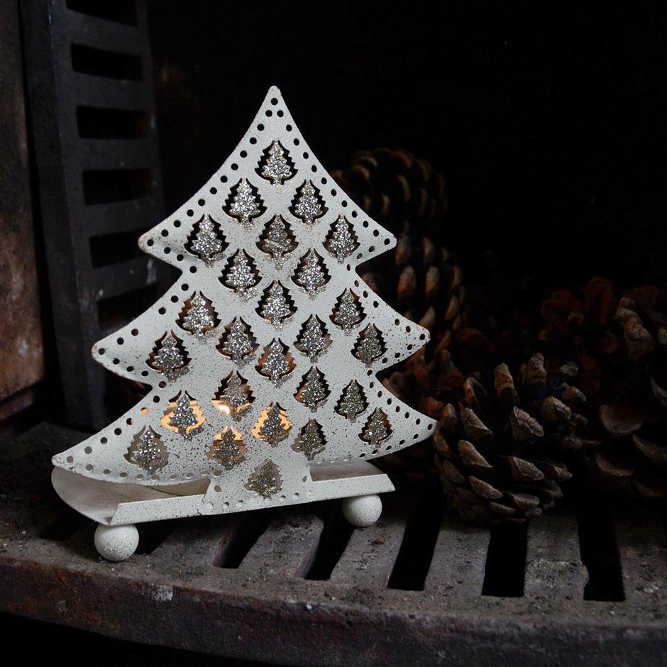 Festive Metal Tree Tealight Holder