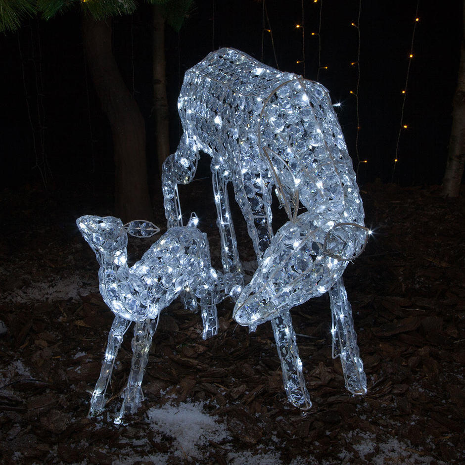 Jewelled Doe Deer and Fawn with 230 LED White Lights