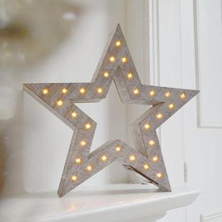 Wooden Lit Star in White Wash