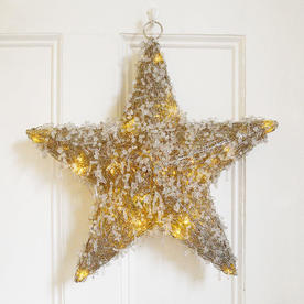 Beaded Hanging LED Star - Large
