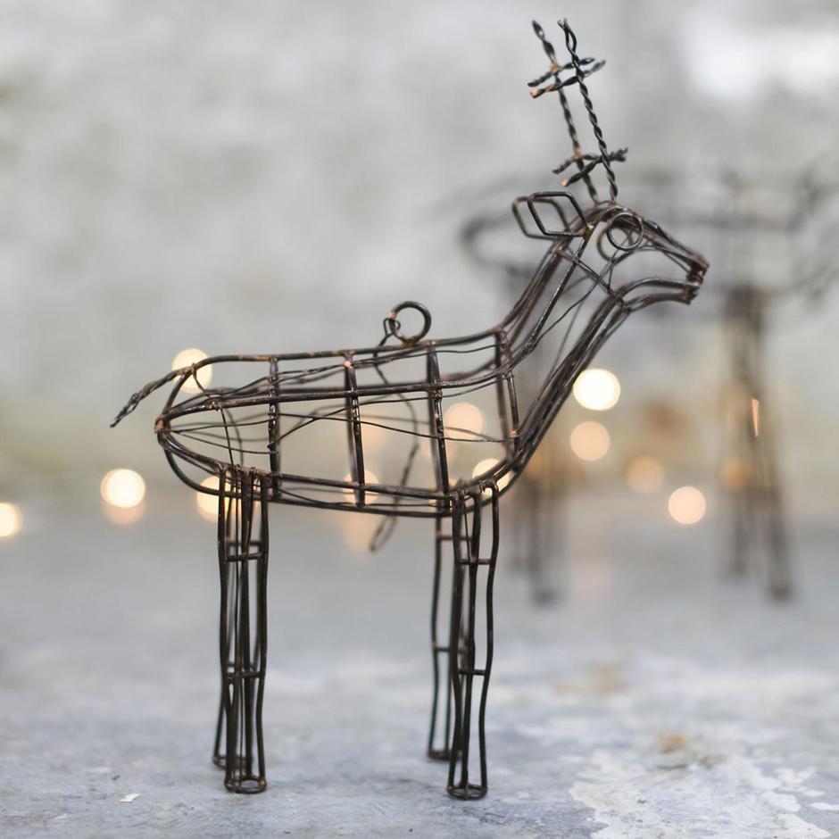 Hanging Rustic Wire Reindeer