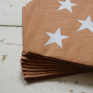 Gold and Silver Star Paper Napkins
