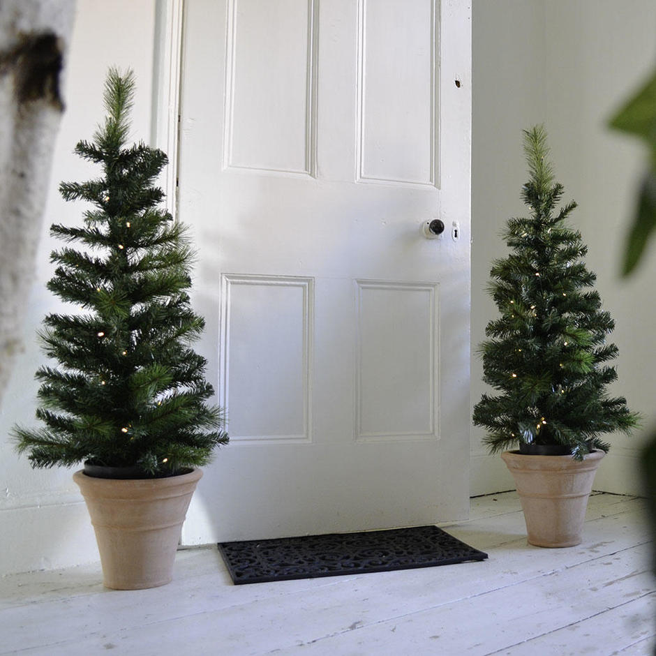 A Pair of Doorway Christmas Trees with LED lights