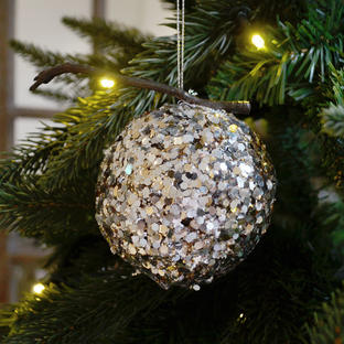 Glittered Silver Pomegranate