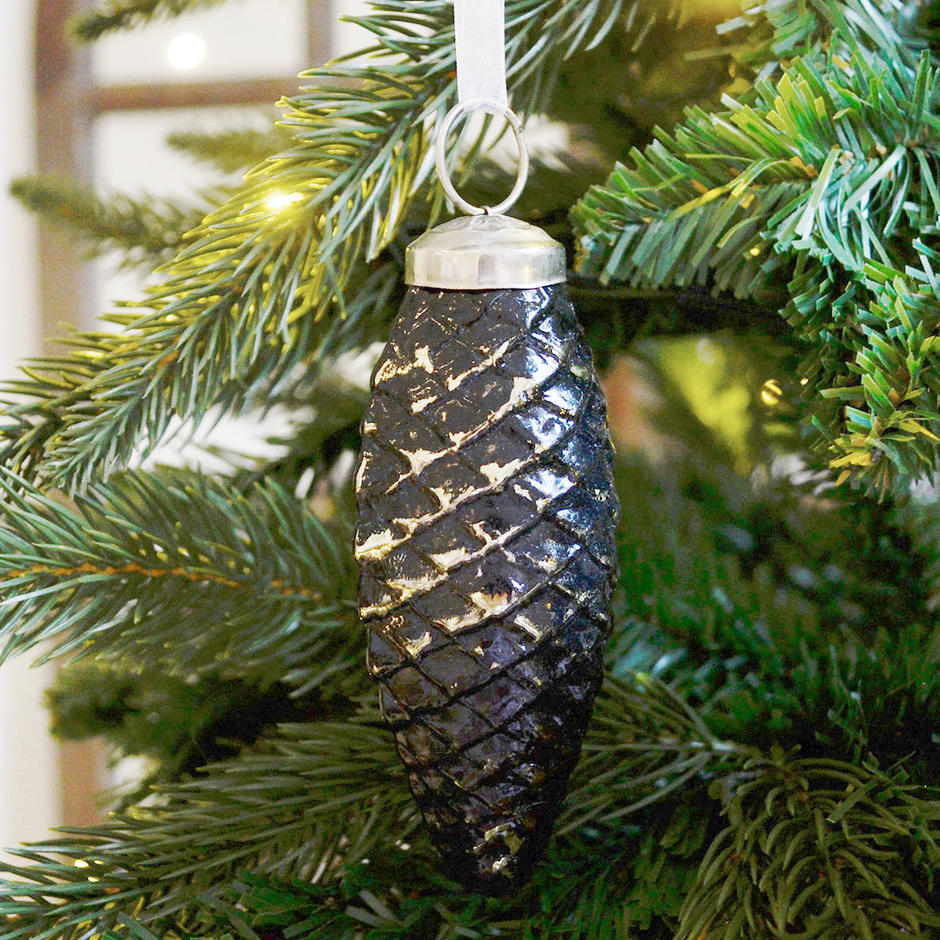 Burnished Black and Gold Pine Cone