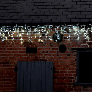 Connectable Outdoor Icicle Lights - 180 White LED