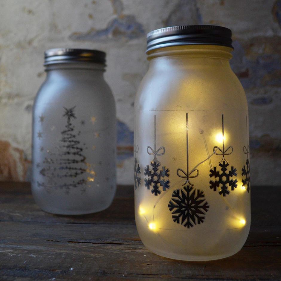 Christmas LED Light Jars