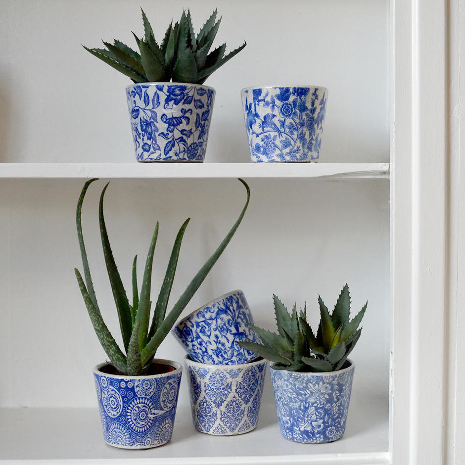 Old Delft Styled Glazed Pots