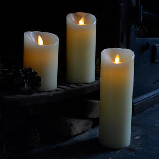 Ivory Moving Flame Candles set of 3