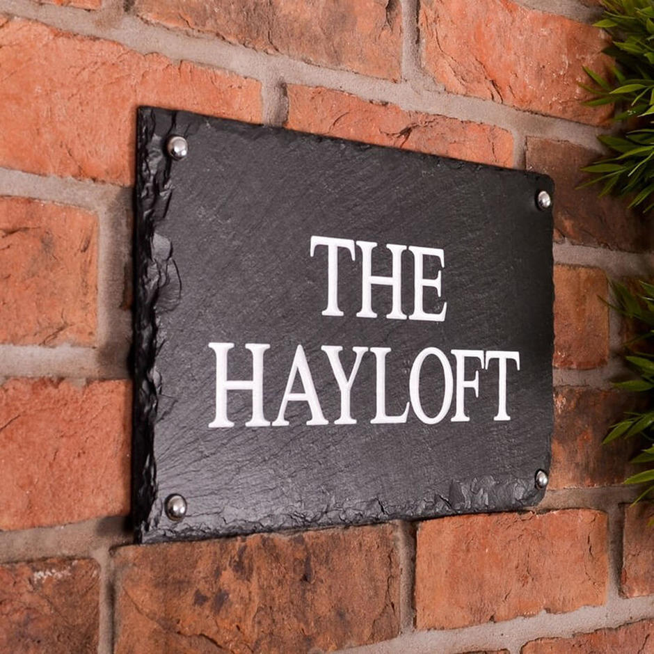 Rustic slate two line house signs