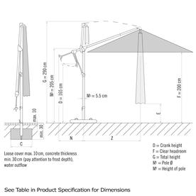 SunwingC+ Deluxe Bespoke Square Cantilever Parasol