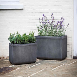 Vintage Style Ribbed Trough Planter