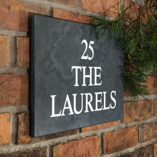 Smooth Slate Three Line House Signs