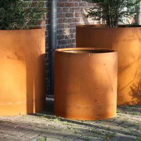 Cylinder Corten Steel Planters